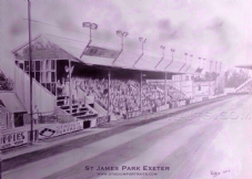Exeter City - Main Stand drawn in graphite -  A3 Unframed print